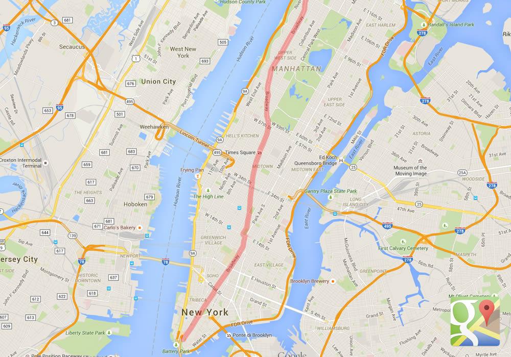 Il percorso di Broadway a Manhattan