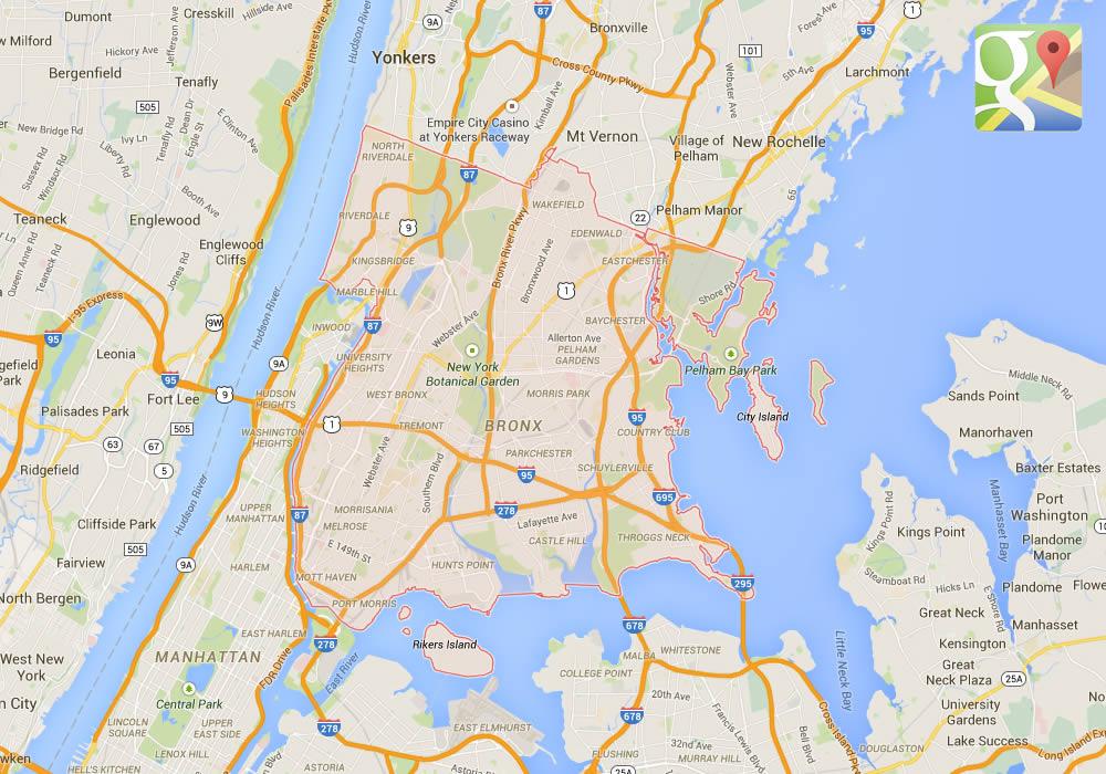 La mappa della Contea del Bronx