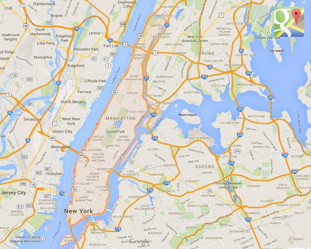 Mappa della Contea di New York - Manhattan