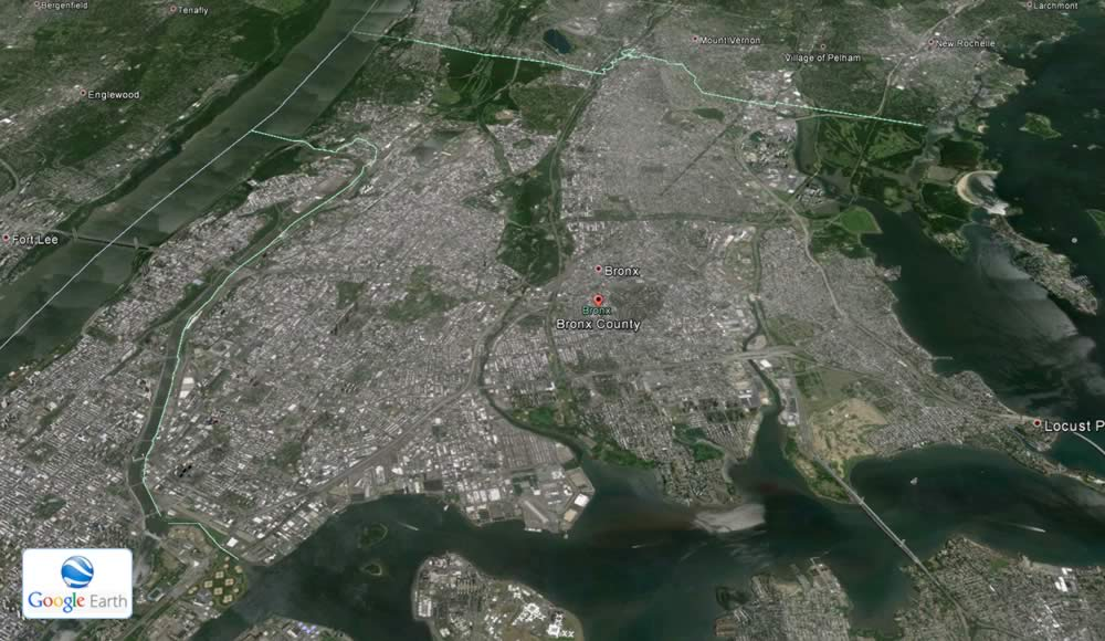 Mappa aerea del distretto del Bronx