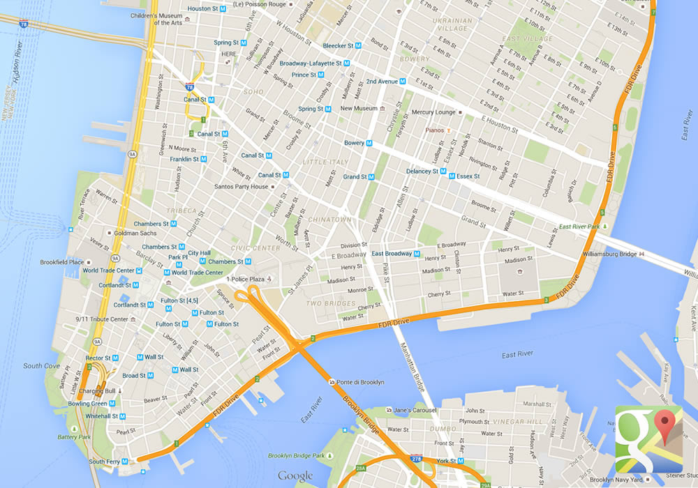 Urbanistica irregolare nel sud di Manhattan